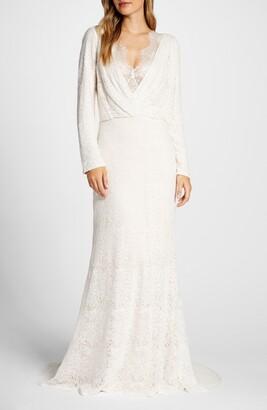 Tadashi Shoji Drape Neck Long Sleeve Lace Wedding Dress