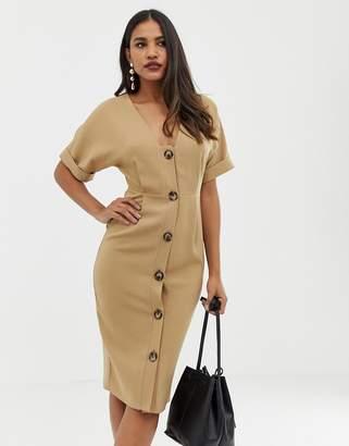 Asos Design DESIGN button through midi wiggle dress-Beige
