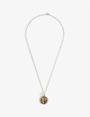 Hermina Athens Hermis yellow-gold plated sterling silver coin pendant