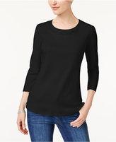 Karen Scott Cotton Eyelet-Trim T-Shirt, Created for Macy's