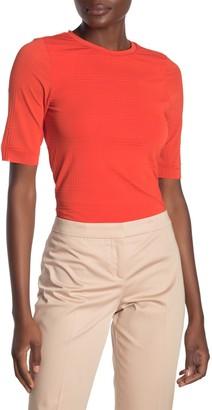 HUGO BOSS Etuana Windowpane Elbow Sleeve Tunic T-Shirt