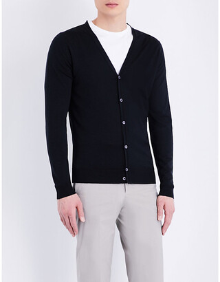 John Smedley Men's Charcoal Petworth V-Neck Merino Wool Cardigan, Size: L