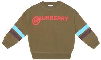 BURBERRY KIDS Logo cotton jersey sweatshirt