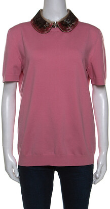 Louis Vuitton Pink Knit Sequin Embellished Detachable Collar Top L