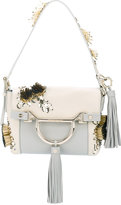 Borbonese beads embellished shoulder bag - women - Cotton/Leather - One Size