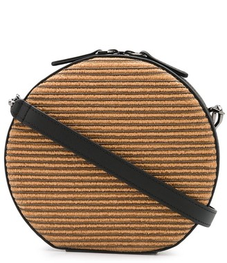 Brunello Cucinelli Straw Panelled Circular Crossbody Bag