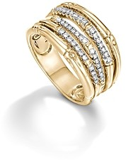 John Hardy Bamboo 18K Yellow Gold Diamond Pave Wide Ring