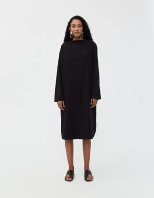 Black Crane Folded Neck Dress in Midnight