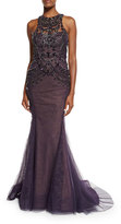 Marchesa Sleeveless Crystal Mermaid Gown, Aubergine