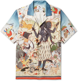 Endless Joy The Harmonic Pair Camp-Collar Printed Tencel Shirt