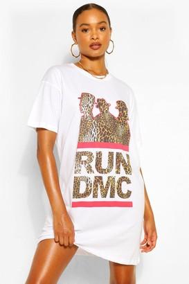 boohoo Run DMC Leopard Print T Shirt Dress