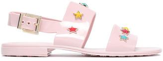 Red(V) Studded Glossed-rubber Slingback Sandals