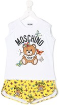 Moschino Kids TEEN butterfly and teddy print pajama set