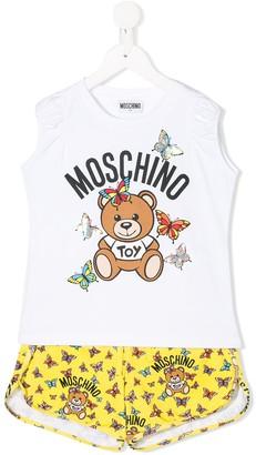 MOSCHINO BAMBINO TEEN butterfly and teddy print pajama set
