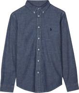 Ralph Lauren Dark Blue Embroidered Classic Logo Chambray Shirt 6-14 Years