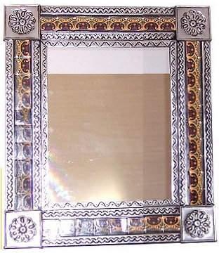 Fine Crafts & Imports Medium Silver Greca C Mexican Tile Mirror