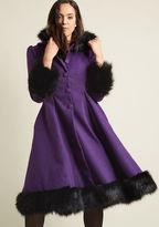 Hell Bunny Northeast Nobility Coat in Violet in 4X