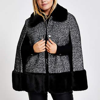 River Island Plus black boucle faux fur collar cape coat