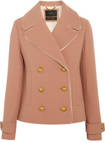 J.Crew Tipped Satin-trimmed Wool-blend Crepe Jacket - Taupe