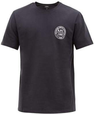 A.P.C. Logo-print Cotton T-shirt - Mens - Navy