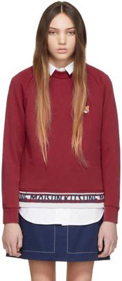 MAISON KITSUNÉ Red Jacquard Fox Head Patch Sweatshirt
