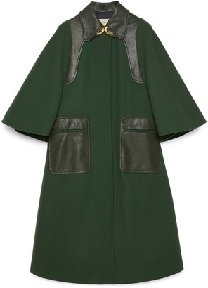 Gucci Wool coat with leather details