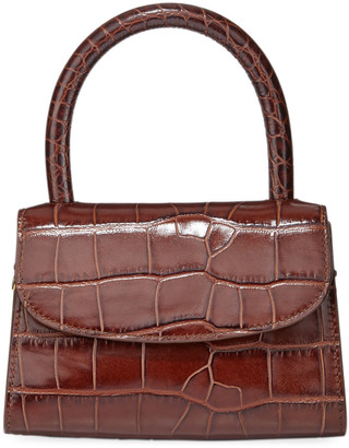 BY FAR Mini Crocodile-Embossed Top-Handle Bag, Brown