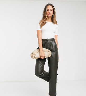 Vero Moda Tall pants in faux leather in green