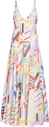 Rosie Assoulin Million Pleats Printed Cotton Maxi Dress