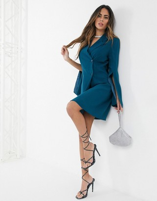 UNIQUE21 Unique 21 split sleeve blazer dress in teal