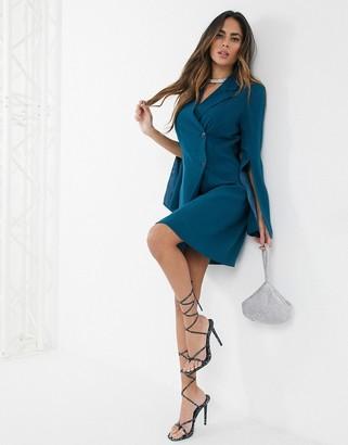 UNIQUE21 Unique 21 split sleeve blazer dress in teal-Green