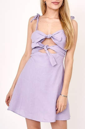 Olivaceous Tie Front Cutout Dress