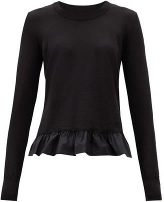 Moncler Ruffled-hem Wool Sweater - Black