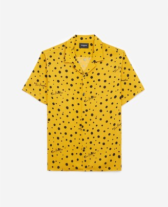 The Kooples Printed yellow shirt with short sleeves