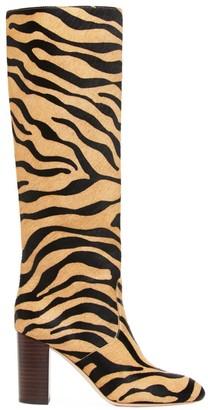 Loeffler Randall Goldy Knee-High Tiger-Stripe Calf Hair Boots