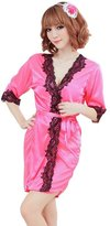 Rokou Sexy Lingerie Satin Silk Lace Kimono Robe Sleepwear Nightgown with Belt