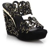Rene Caovilla Crystal-Embellished Suede Arabesque Wedge Sandals
