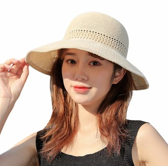 GEMVIE Womens Summer Bowknot Straw Sun Hat Floppy Packable Beach Visor Bucket Sun Hats Hollow Out Sun Hat UPF 50+ Pink