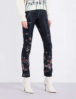 Sacai Flower-embroidered skinny high-rise satin trousers