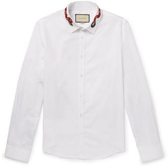 Gucci Duke Appliqued Cotton Oxford Shirt