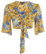 Topshop Floral front knot top
