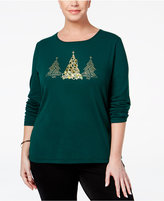 Karen Scott Plus Size Holiday Tree Graphic Top, Only at Macy's