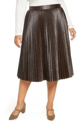 Halogen Coated Pleated Midi Skirt