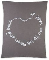 Living Textiles Infinite Love Knitted Jacquard Blanket in Charcoal Grey