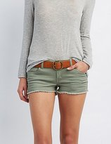 Charlotte Russe Refuge Super Shortie Denim Cut-Off Shorts