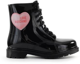 Love Moschino Black Rubber Combat Boot