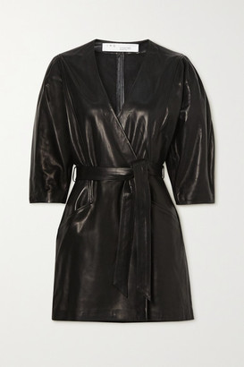 IRO Lanika Belted Leather Mini Wrap Dress - Black