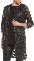 Peter Nygard Faux Leather Lace Jacket