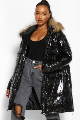 boohoo Tall Faux Fur Hood High Shine Padded Coat