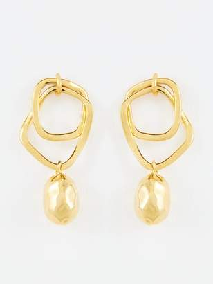 Whistles Double Hoop Hammered Bead Earrings - Gold